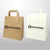 Borsa di carta con manico piatto, render, logo placeholder