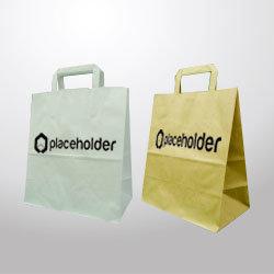 Borsa di carta con manico piatto 260x300x140, render con logo placeholder.