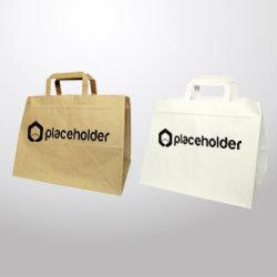 Borsa di carta con manico piatto 320x245x220 , render con logo placeholder.