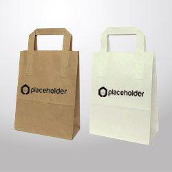 Borsa di Carta con manico piatto, render  con logo placeholder